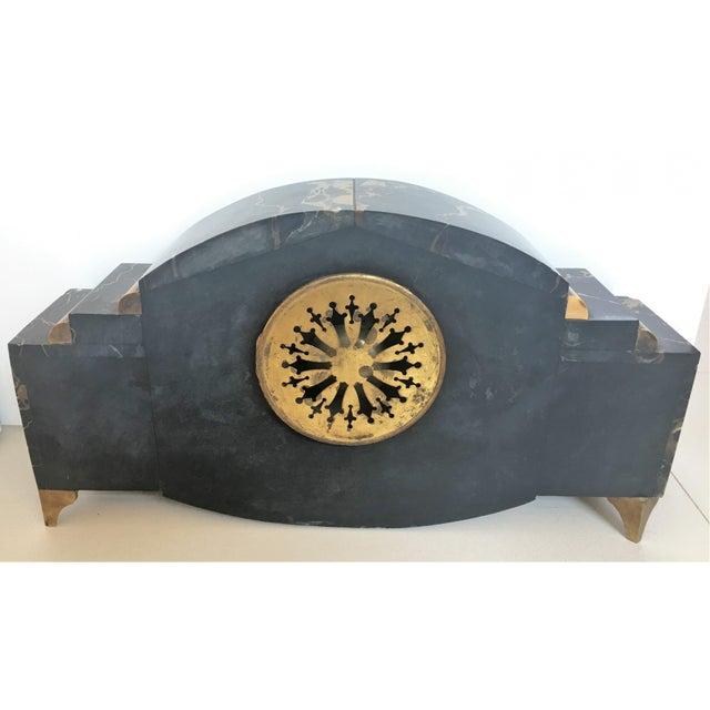 Art Deco 1920s Vintage Art Deco Marble Mantel French Bronze Clock & Garnitures - Set of 3 For Sale - Image 3 of 8