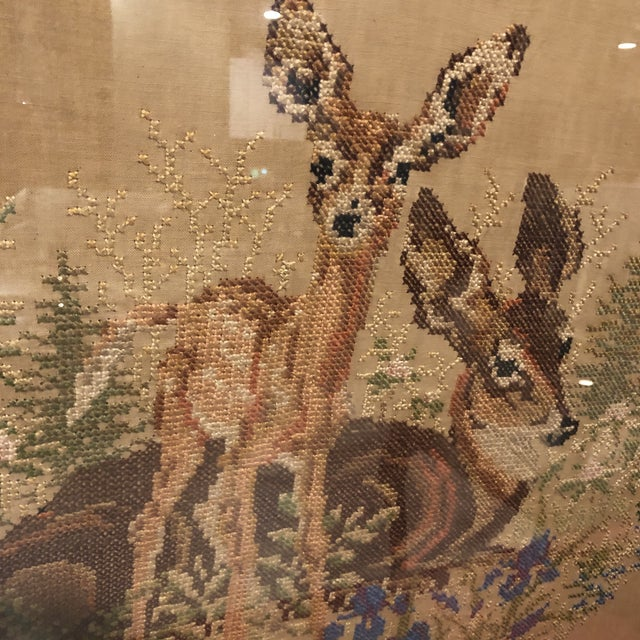 1920s Vintage Deer With Fawn Cross Stitch Framed Textile Art For Sale - Image 5 of 12