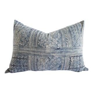 Vintage Blue Batik Standard Queen Size Pillow For Sale