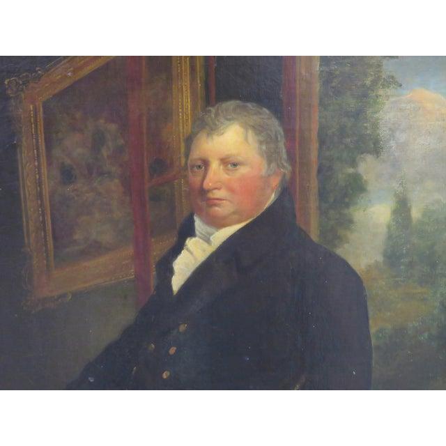 19th C. Painting Portrait of Lady & Gentlemen - Image 5 of 11