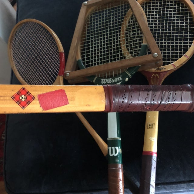 Wood Collection of Antique Tennis Rackets - Set of 4 For Sale - Image 7 of 9