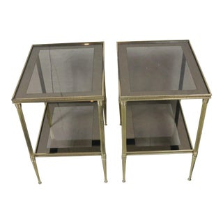Mid Century French Brass Side Tables, a Pair For Sale