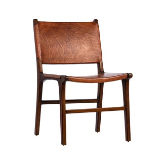 Modern Teak & Leather Dining Chair For Sale