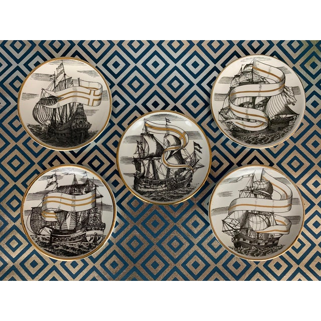 """Set of 5 Piero Fornasetti (1913-1988) """"Velieri"""" coasters, circa 1950s. Lithographically-decorated and hand-painted..."""