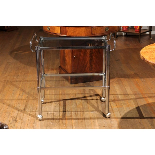Chrome Two Tier Bar Cart For Sale - Image 7 of 7