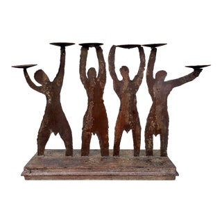 Hand Crafted Figurative Iron Gladiators Mantel Table Candle Holder For Sale