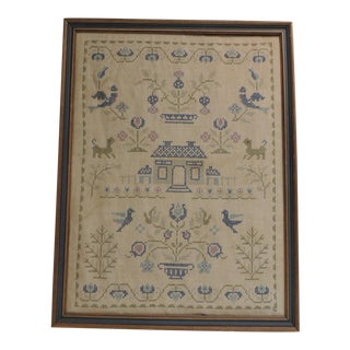 Framed Vintage Embroidery Sampler For Sale