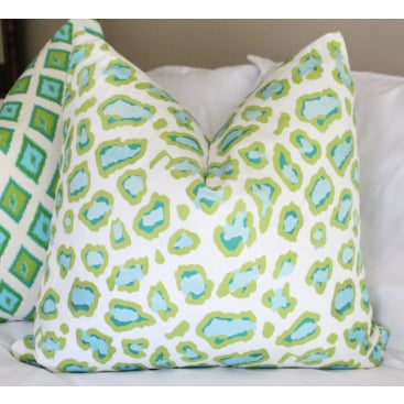 Abstract Lime & Teal Leopard Print Pillow For Sale - Image 3 of 3