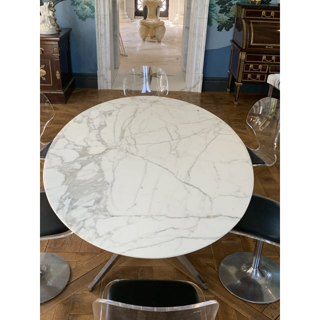 Oval Knoll Marble Top Dining Table For Sale - Image 12 of 13