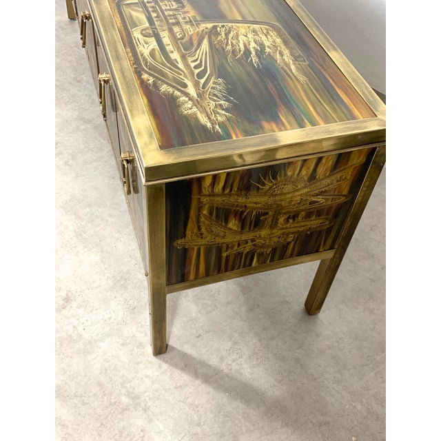 Bernhard Rohne Acid Etched Brass Credenza for Mastercraft 1970's For Sale - Image 11 of 13
