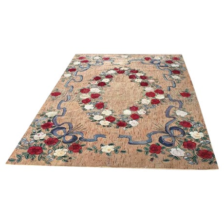 Large Room Sized Rose and Ribbons Hand Hooked Rug For Sale