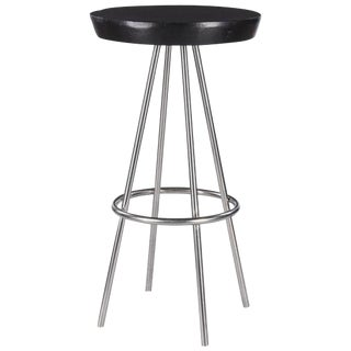 "French Chrome Base Round ""Mange Debout"" Tall Table, 1970s"