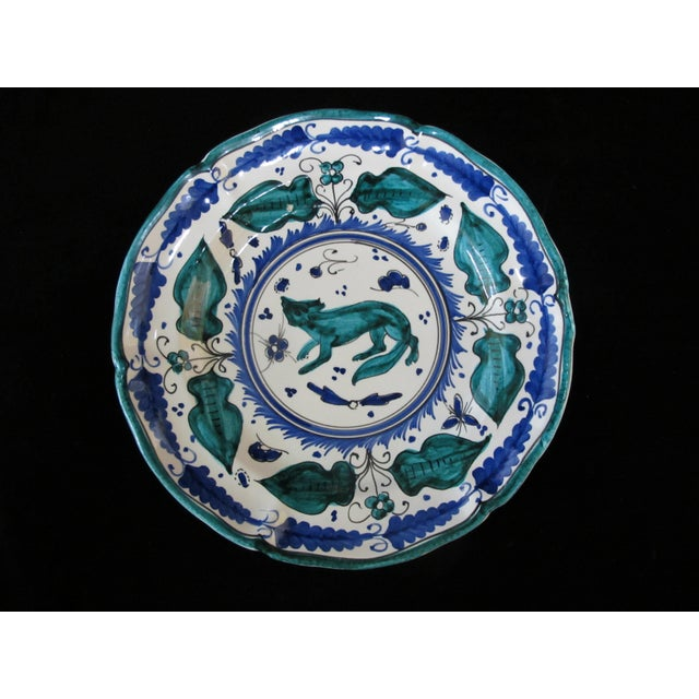 Late 20th Century Italian Majolica Assisi Blue Green Animal Flower Leaf Theme Plate Set of 4 For Sale - Image 5 of 8
