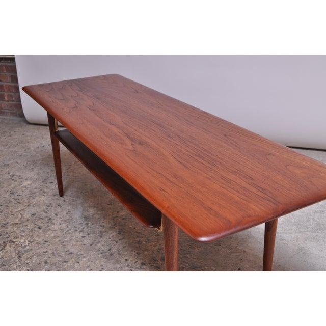 Brass Peter Hvidt & Orla Mølgaard Nielsen Teak and Cane Coffee Table For Sale - Image 7 of 13