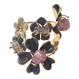 Modernist Flower Crystal Cuff For Sale