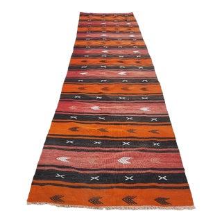 1970s Kitchen Runner, Tribal Flat Woven Turkish Oushak Kilim Rug Runner 2.9 X 11 Ft. For Sale