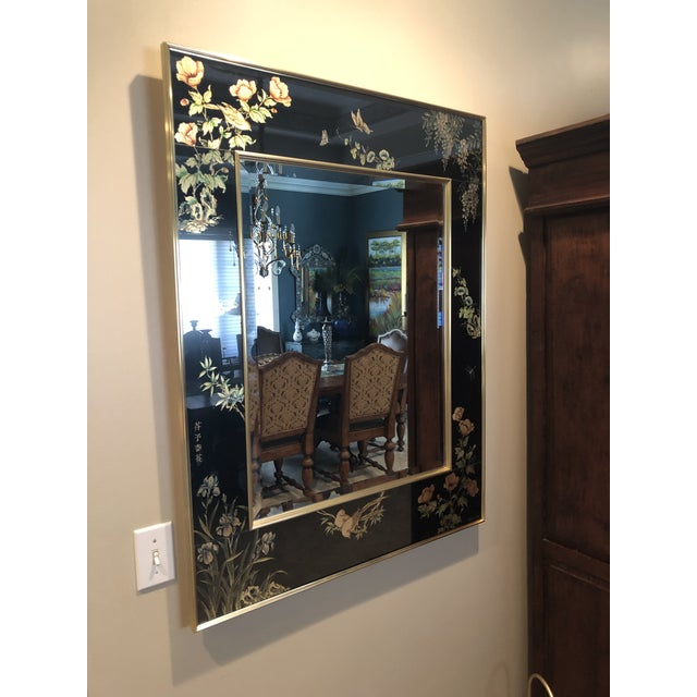 Unbelievable Labarge eglomise mirror. Vintage dated 1983 and signed by the artist. Heavy superior quality construction....