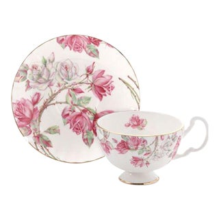 Aynsley Elizabeth Rose Pedestal Cup & Saucer For Sale