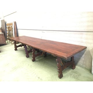 Early 19th Century French Baroque Style Walnut Trestle Dining Farm Table 163´ Preview