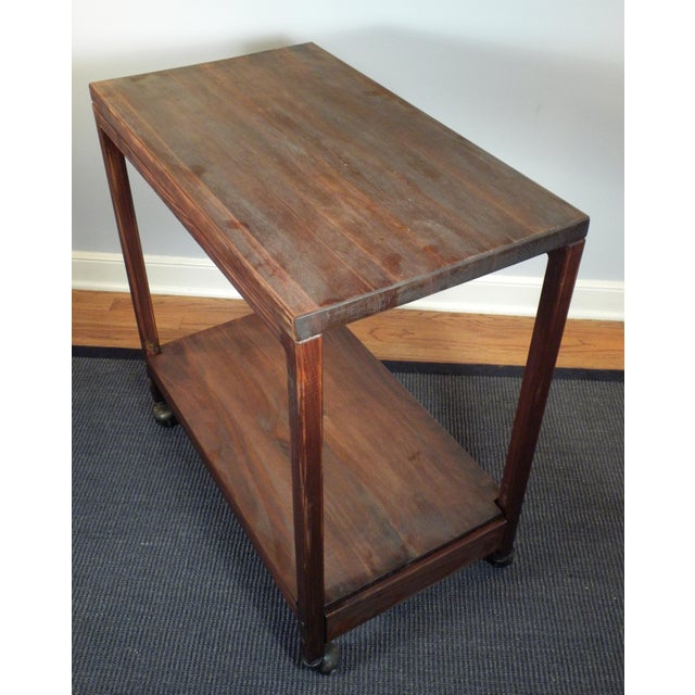 Vintage Mid-Century Wood Rolling Bar Cart - Image 5 of 7
