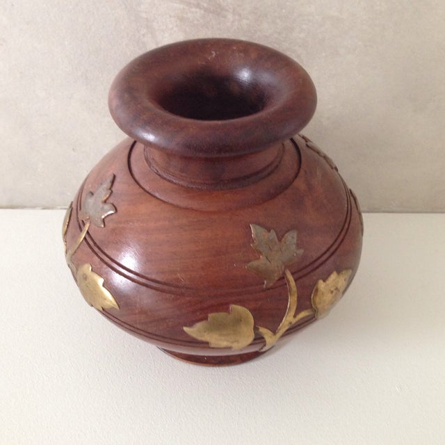 Brass Wood & Brass Vase For Sale - Image 7 of 7