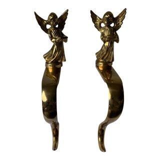 Solid Brass Angel Stocking Hooks - a Pair For Sale