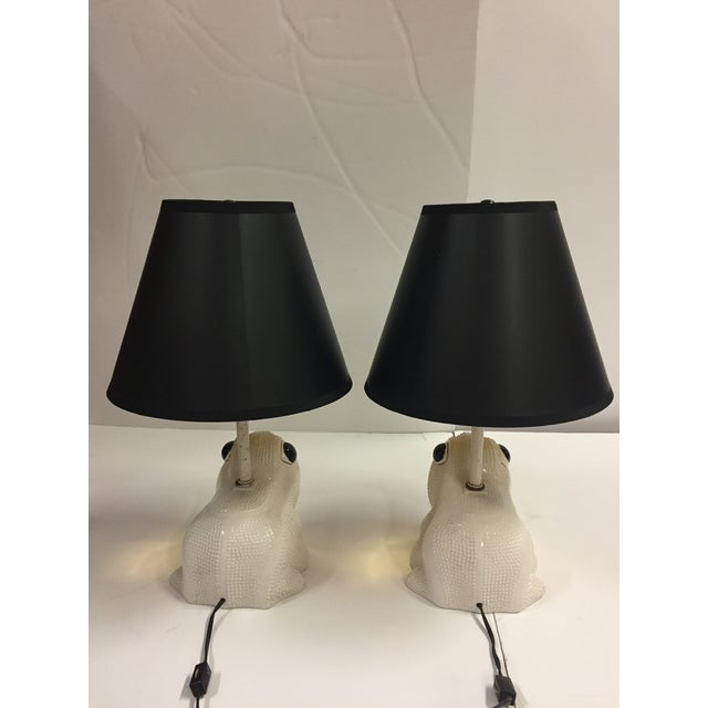 Vintage Italian White Ceramic Hobnail Frog Lamp With Shades - a Pair For Sale - Image 9 of 13