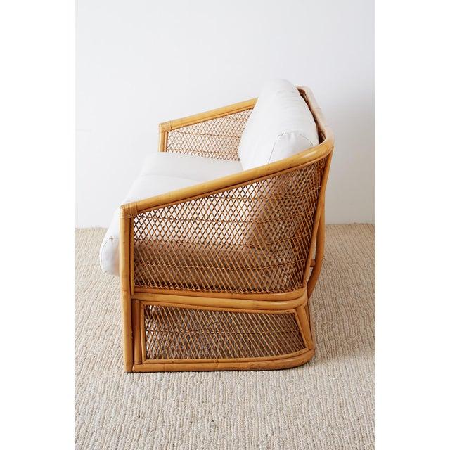 Midcentury Bamboo Rattan Wicker Three-Seat Sofa For Sale - Image 4 of 13