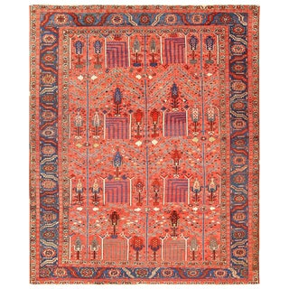 Antique Heriz Persian Rusty Red Background Rug - 9′7″ × 11′7″ For Sale