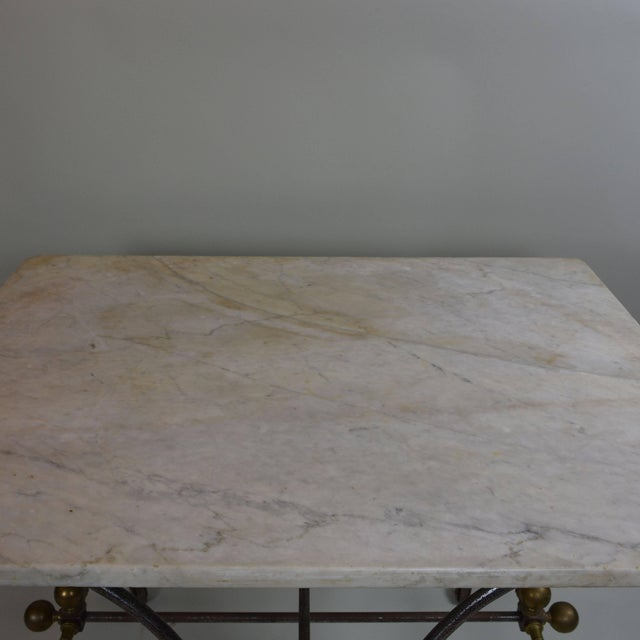 Farmhouse Bakery Table With White Marble Top For Sale - Image 3 of 6