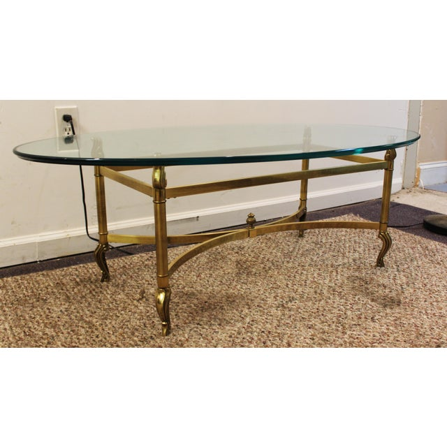 Regency Brass Base & Glass Top Coffee Table - Image 2 of 10