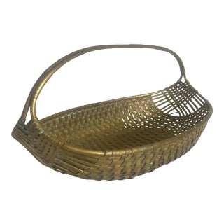 Vintage Mid Century Italian Brass Hand Woven Oval Metal Basket For Sale