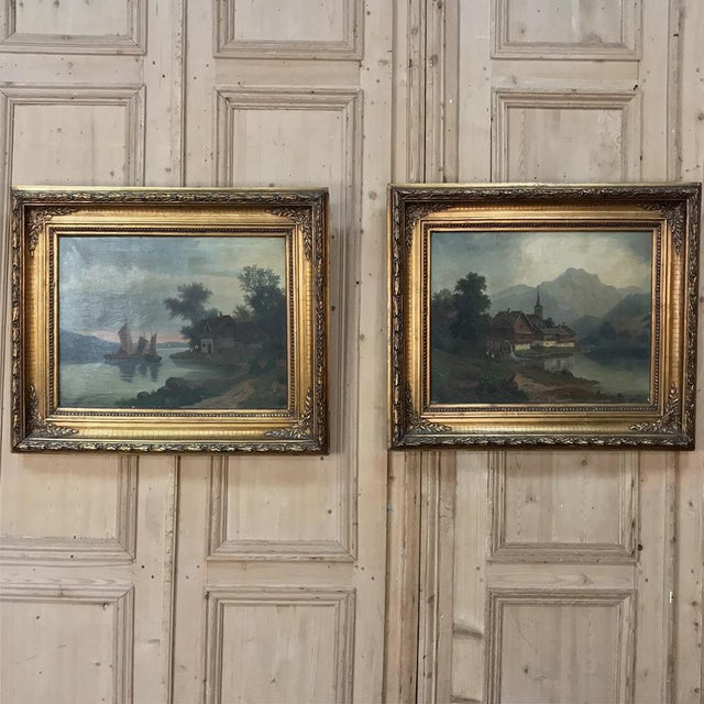 Pair 19th Century Framed Oil Paintings on Canvas For Sale - Image 13 of 13