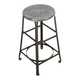 20th Century Industrial Factory Stool With Green Legs For Sale