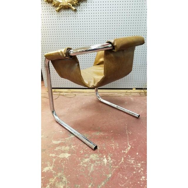 Vintage Mid Century Modern Italian Zermatt Sling Chairs by Vector Group in Original Distressed Cognac Vinyl and Tubular...