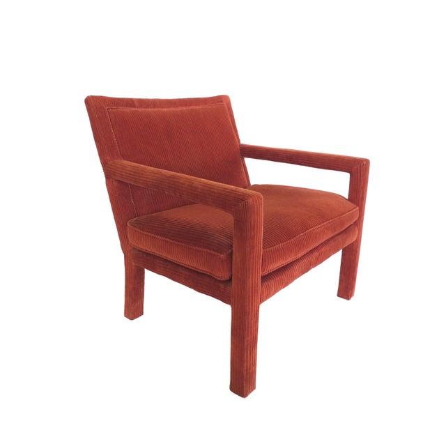 Milo Baughman 1970s Milo Baughman-Style Corduroy Armchair - Pair For Sale - Image 4 of 10