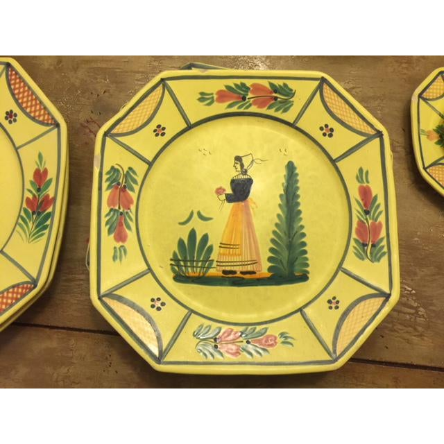 Folk Art Yellow Quimper Pottery Dinnerware - 36 Pieces For Sale - Image 3 of 10