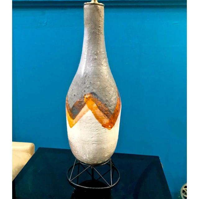 Pair Mid-Century Italian Glazed Terra Cotta Lamps For Sale - Image 9 of 10