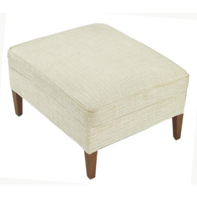 Button Tufted Creamy Linen Lounge Chair and Ottoman For Sale - Image 9 of 9