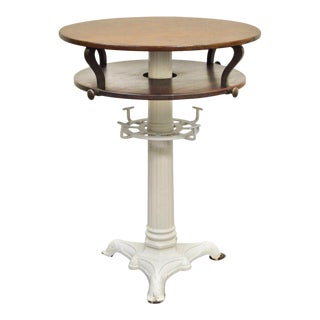 """40""""h X 30"""" Round Wood & Cast Iron Pedestal Base Industrial Center Island Table For Sale"""
