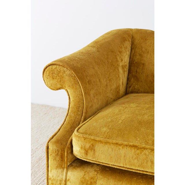 Chinese Chippendale Style Citron Velvet Camel Back Sofa For Sale - Image 4 of 13