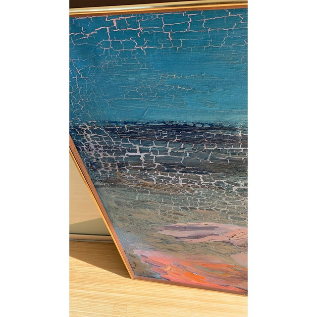 Cerulean Mid-Century Seascape Painting For Sale - Image 8 of 10
