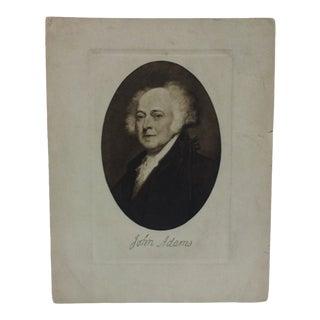 "Vintage Presidential Print on Paper ""John Adams"" Circa 1900 For Sale"