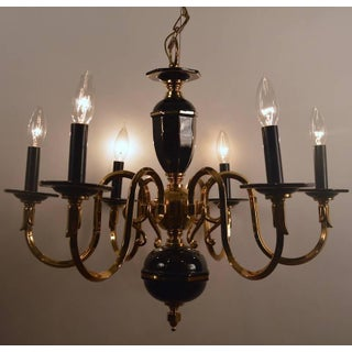 Six-Light Candle Style Black and Brass Chandelier Preview