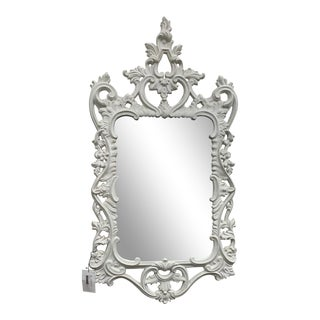 Vintage Baroque Hollywood Regency Painted White Frame Mirror For Sale