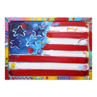 Flag with Heart, Acrylic on Canvas by Peter Max For Sale
