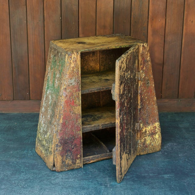 Late 19th Century Primitive Industrial American Factory Craft Trapezoidal Crane Operators Cabinet For Sale - Image 5 of 10