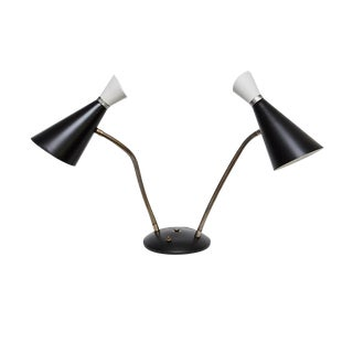 Mid-Century Modern Steel Double Goose Neck Desk Lamp For Sale
