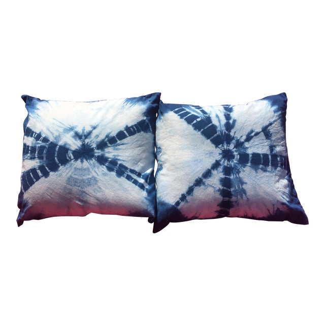 Boho Chic Indigo Hand Dyed Throw Pillows - a Pair For Sale