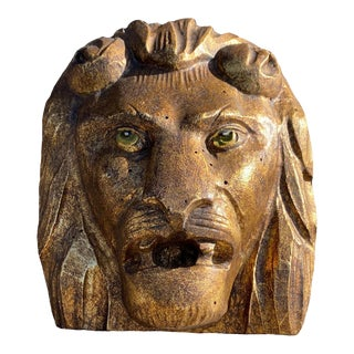 19th Century Ancient Golden Wooden Lion's Head Wall Sculpture For Sale